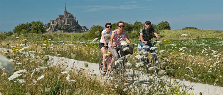 Biking near Mont St-Michel, France
