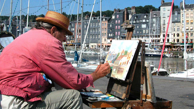 Harborside artist at work, Honfleur, France