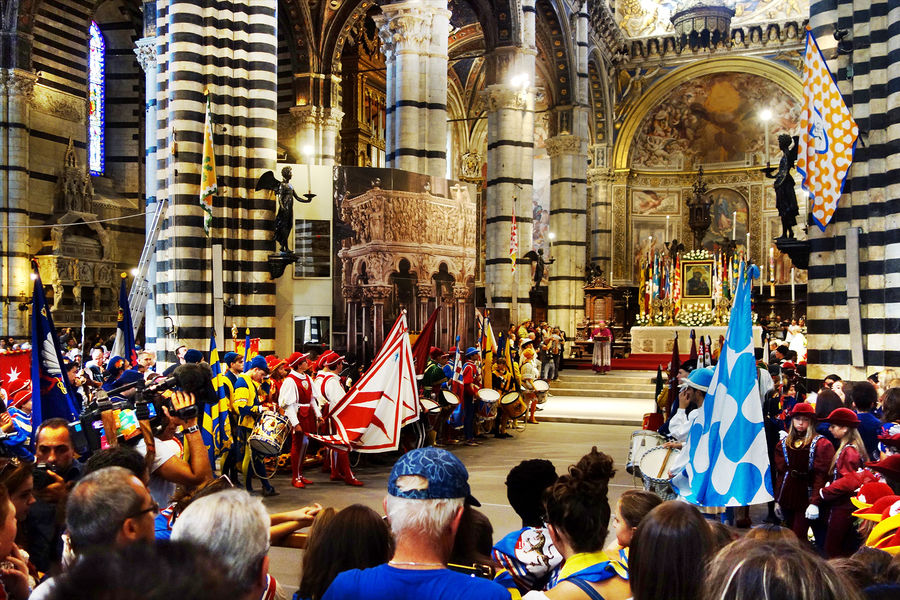 Palio celebration at the cathedral, Siena, Italy