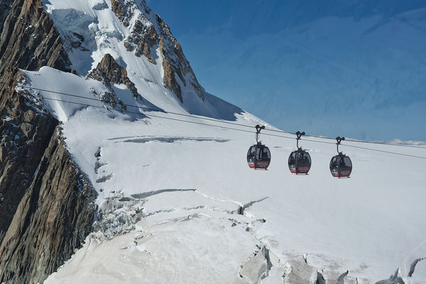 Panoramic gondolas near Mont Blanc, France