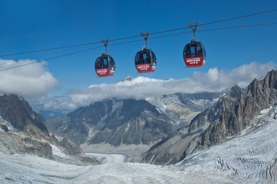 Panoramic gondolas near Mont Blanc, France