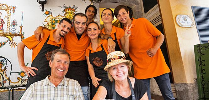 Restaurant staff, Taormina, Sicily, Italy