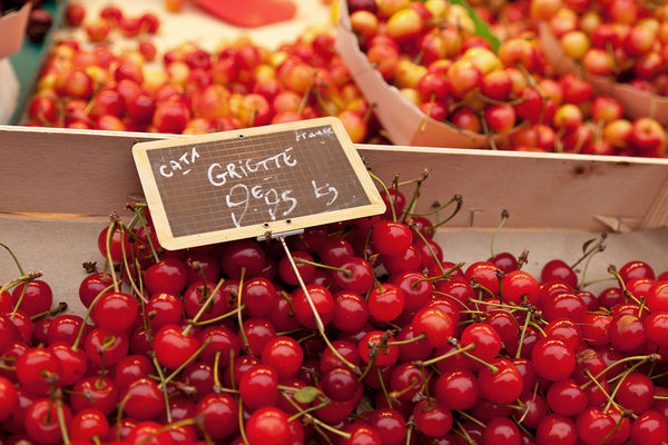 Cherries for sale on Rue Cler, Paris, France