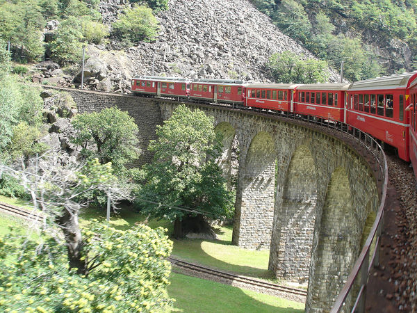 Bernina Express train on the Brusio viaduct, Brusio, Switzerland