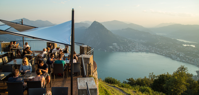 Lake Lugano as seen from San Salvatore peak, Switzerland