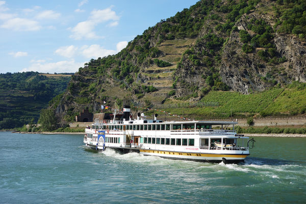 Riverboat on the Rhine River near the Loreley Cliffs, Oberwesel, Germany