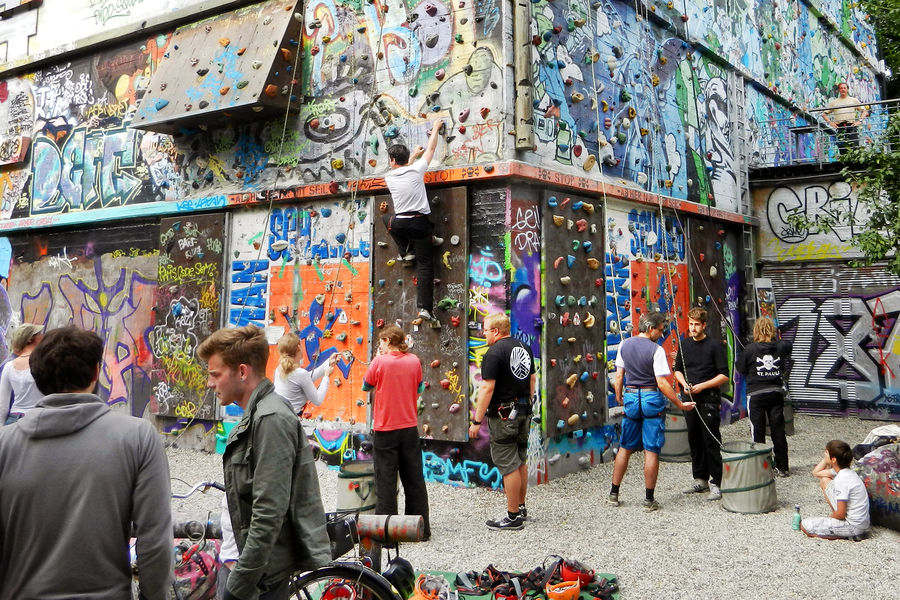 Neighborhood climbing wall made from former WWII bunker in the Schanzenviertel district, Hamburg, Germany
