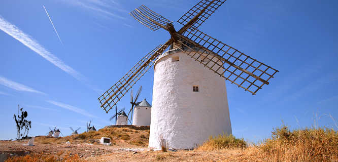 Windmills and Don Quixote in Consuegra, Spain