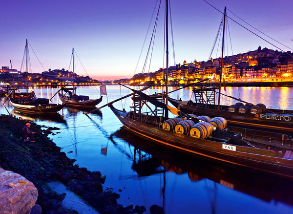 Port wine boats along Cais da Ribeira, Porto, Portugal