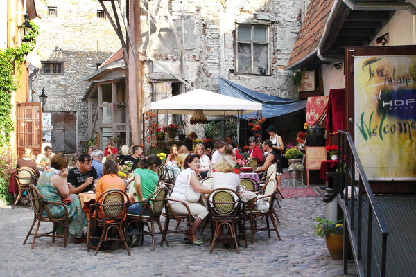 Outdoor dining in the Old Town, Tallinn, Estonia