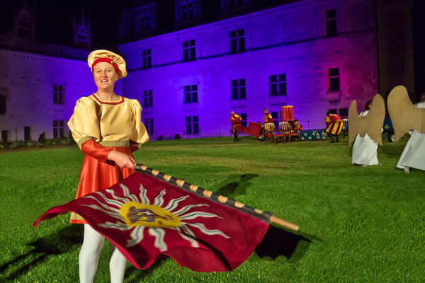 Performer at a sound-and-light show, Château Royal d'Amboise, Amboise, France