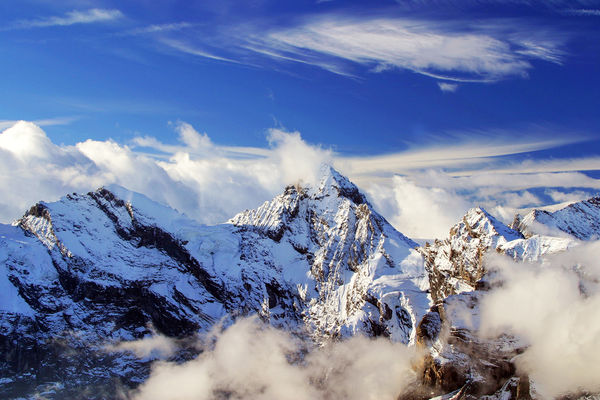 Gspaltenhorn peak as seen from the Schilthorn summit, Berner Oberland, Switzerland