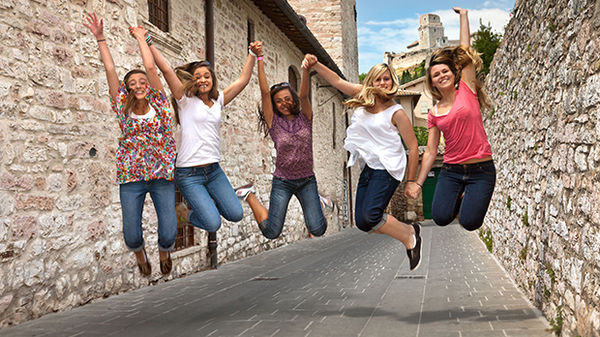 Happy travelers, Assisi, Italy