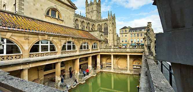 Roman Baths and Bath Abbey, England
