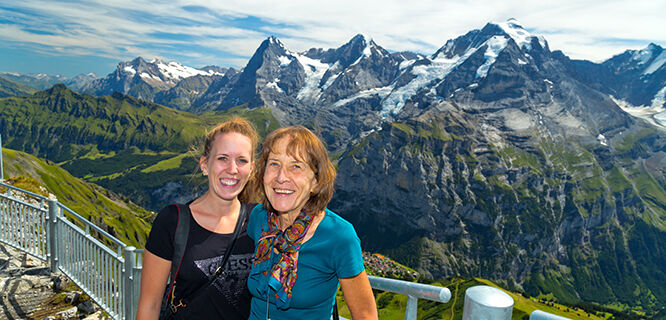 Near the Schilthorn summit overlooking the Eiger, Mönch, and Jungfrau peaks, Berner Oberland, Switzerland