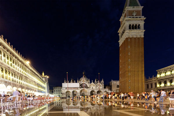 St. Mark's Square at night (and somewhat flooded), Venice, Italy