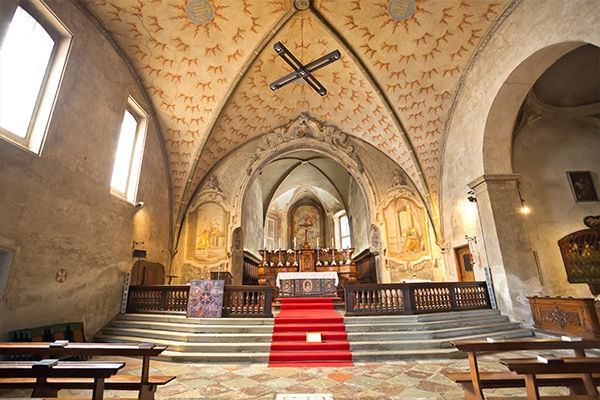 Interior of Church of St. Mary of the Angels, Lugano, Switzerland