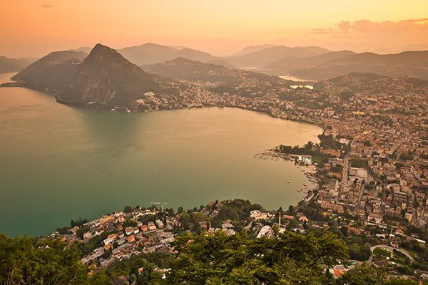 Sunset from Monte Brè over Lugano, Switzerland