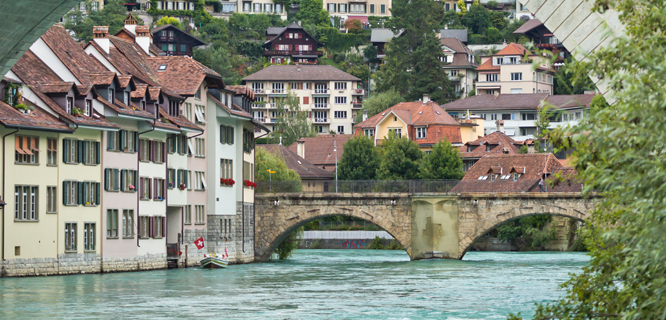Aare River underneath the Nydegg Bridge, Bern, Switzerland