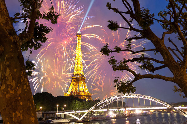 Bastille Day fireworks near the Eiffel Tower, Paris, France