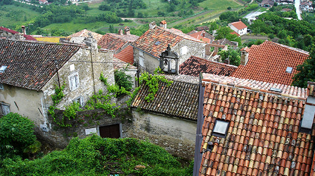 Tile rooftops in Motovun, Croatia