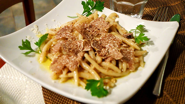 Local truffles on pasta, Motovun, Croatia