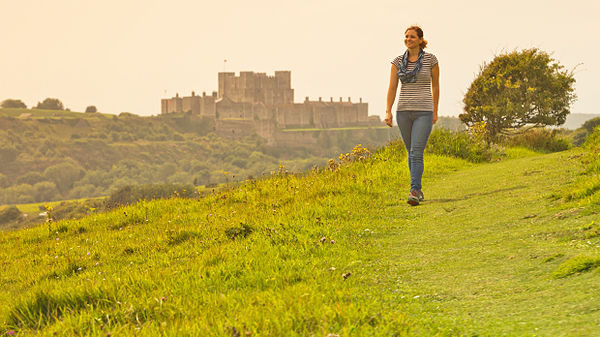 Hiking near Dover Castle, Dover, England