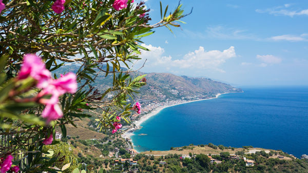 Sicilian coast as seen from Taormina, Sicily