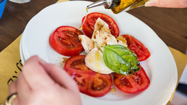 Caprese salad lunch in Taormina, Sicily, Italy