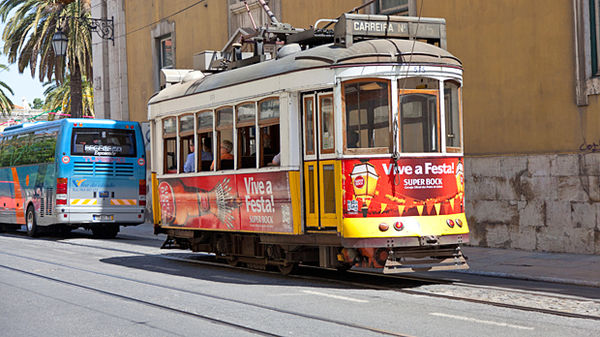 Old-time trolley, Lisbon, Portual