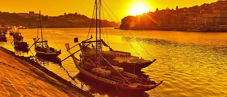 Port wine boats along Cais da Ribeira, Porto, Portugal