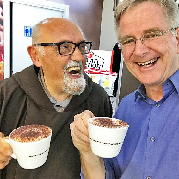Rick enjoys a cappuccino with a Capuchin monk, Palermo, Sicily, Italy