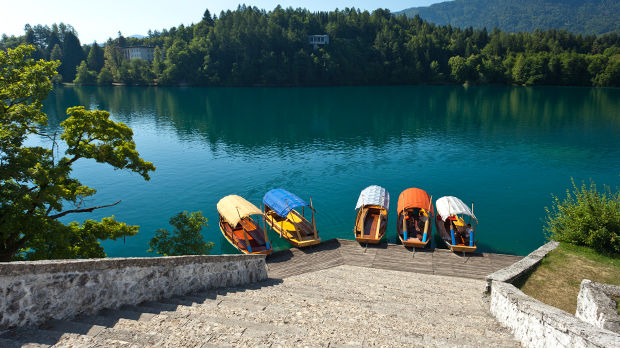 Pletna boats on the shores of Blejski Otok, Lake Bled, Slovenia