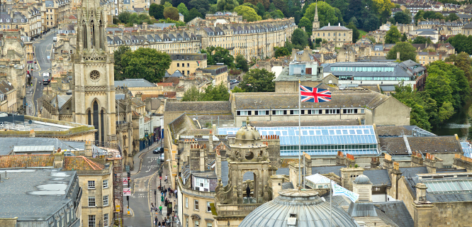 View from the tower at Bath Abbey, Bath, England