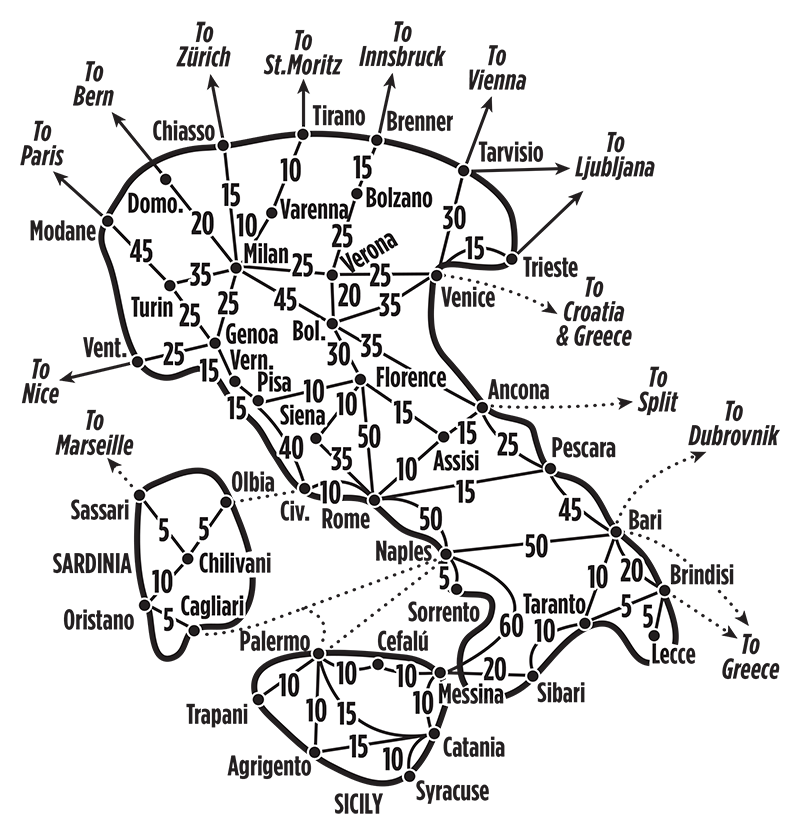 Map Of Italy Train Routes.Travel Times By Train In Italy Joshymomo Org