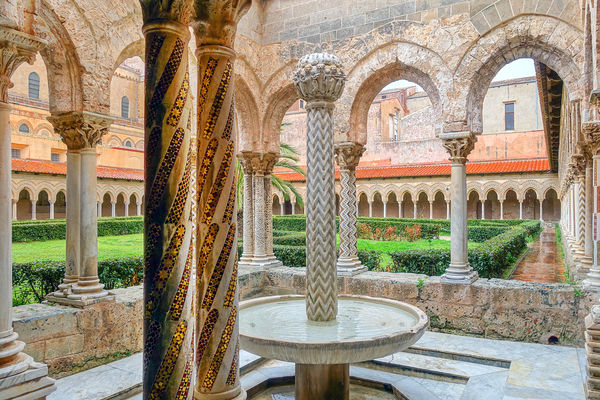 Cloister at the Cathedral of Monreale, Sicily, Italy