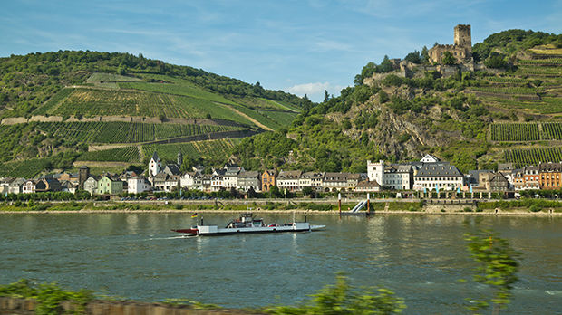 Rhine River and Gutenfels Castle, Kaub, Germany