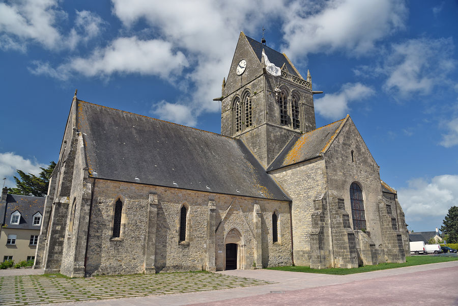 Town church, Sainte-Mère-Eglise, France