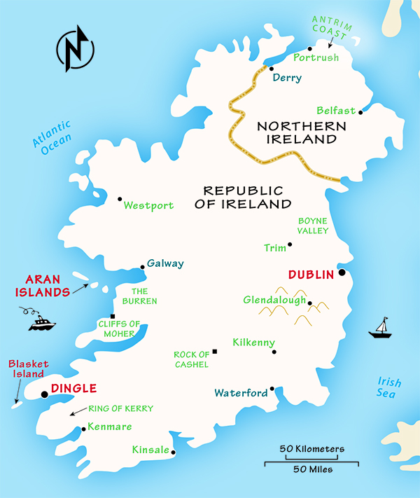 Republic Of Ireland And Northern Ireland Map.Ireland Travel Guide By Rick Steves