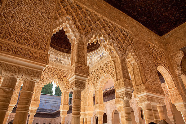 Arabesque wood carvings in the Palacios Nazaries, Granada, Spain