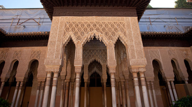 Arabesque wood carvings in the Palacios Nazaries, Granada, Spain, Granada, Spain
