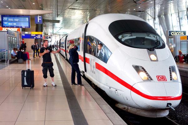 ICE train, airport train station, Frankfurt, Germany