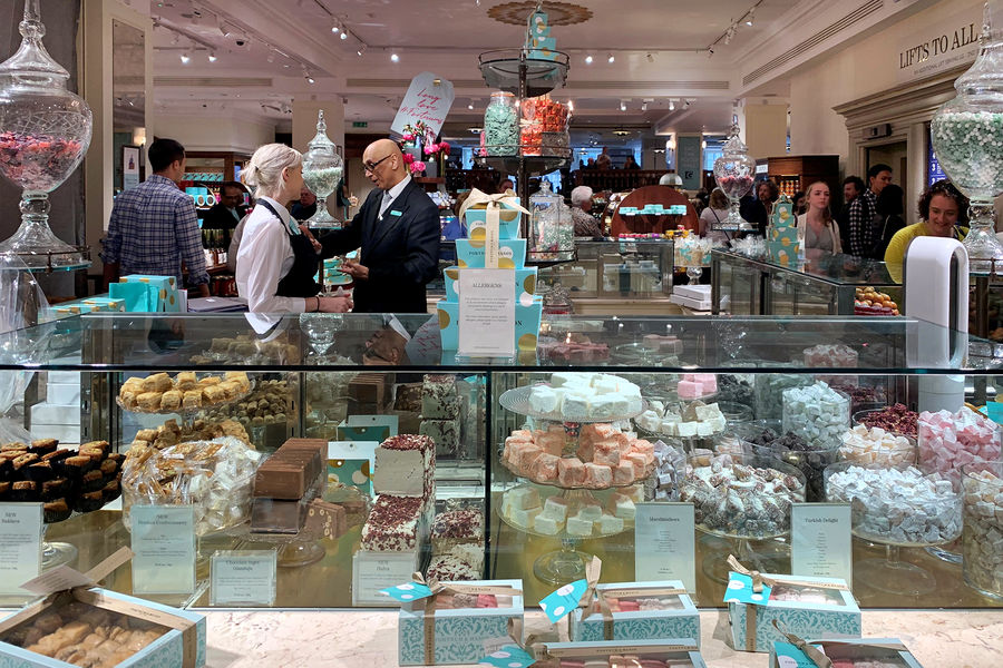 Fortnum & Mason confectionery counter, London, England