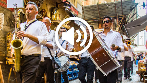 Brass band on the Spaccanapoli, Naples, Italy