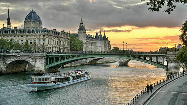 Sunset on the Seine, Paris, France
