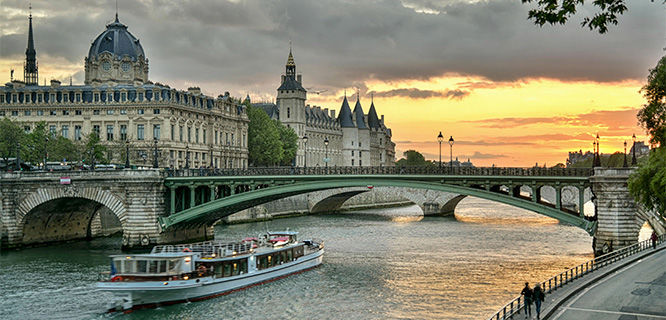 The Seine at sunset in Paris, France