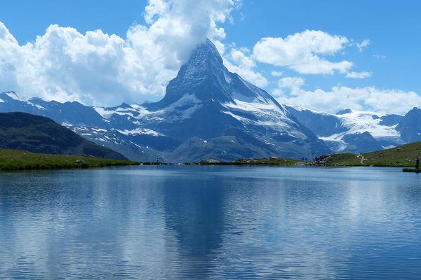 View of the Matterhorn from Stellisee, Zermatt, Switzerland