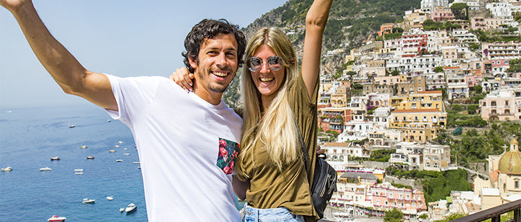 Couple in Positano, Italy