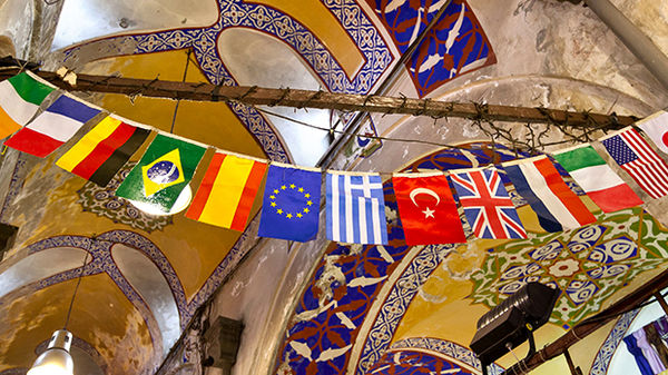 Flags in Grand Bazaar, Istanbul, Turkey