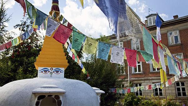 Stupa Buddhist temple in Christiania, Copenhagen, Denmark